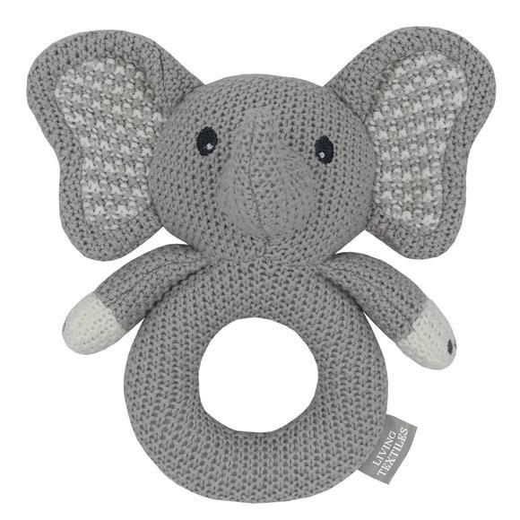 Knitted Ring Rattle - Mason The Elephant