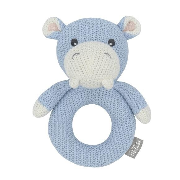 Knitted Ring Rattle - Henry The Hippo
