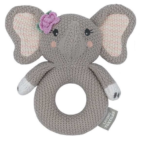 Knitted Ring Rattle - Ella The Elephant