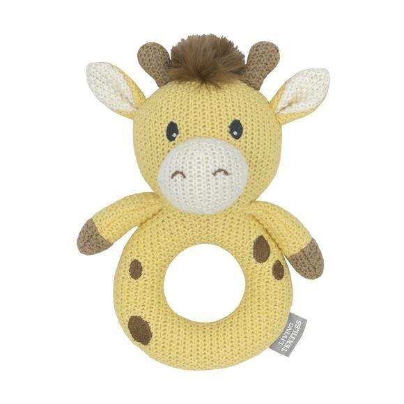 Knitted Ring Rattle - Noah The Giraffe