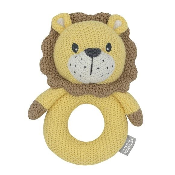 Knitted Ring Rattle - Leo The Lion