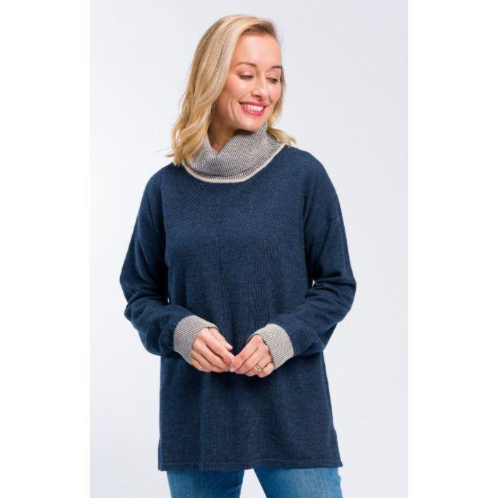 Rolled Neck Sweater Denim Marle