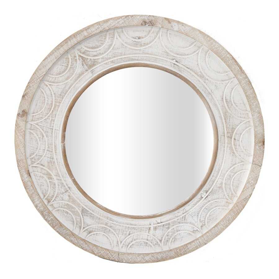 Large Carved Hamptons Round Mirror
