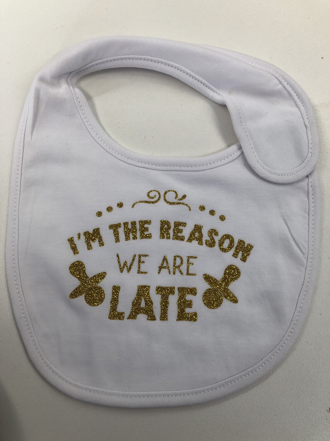 I'm The Reason We Are Late Baby bib