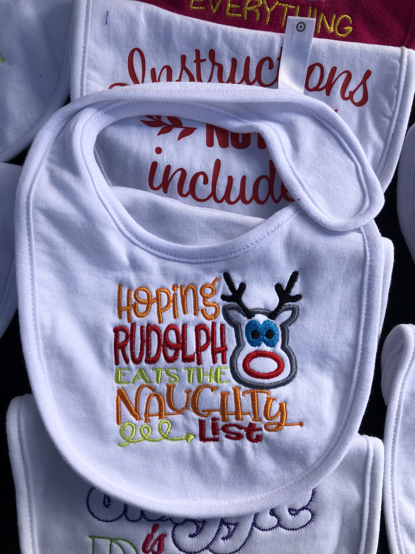 Hoping Rudolph Eats The Naughty List Bib