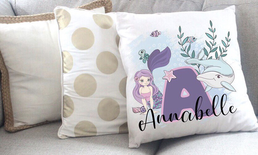 Personalised Mermaid Throw Pillow