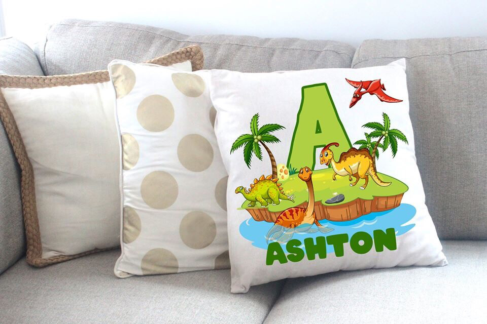 Personalised Dinosaur Throw Pillow