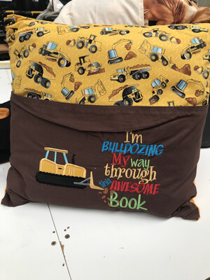 Kids Bulldozer Pocket Pillow