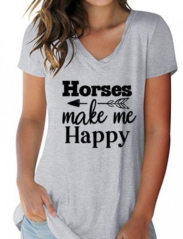 Horses Mak Me Happy T Shirt