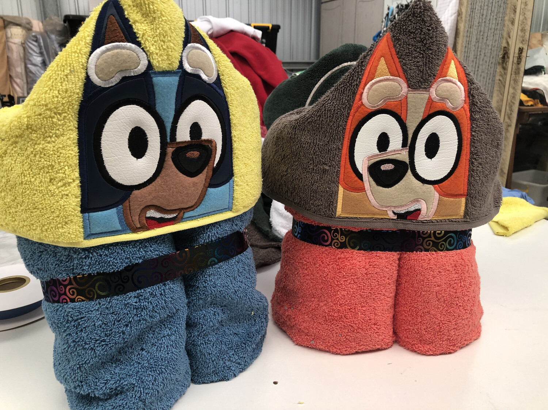 Blue Or Red heeler Hooded Towels
