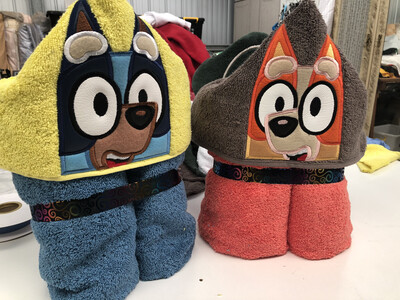Blue Or Red heeler Hooded Towels