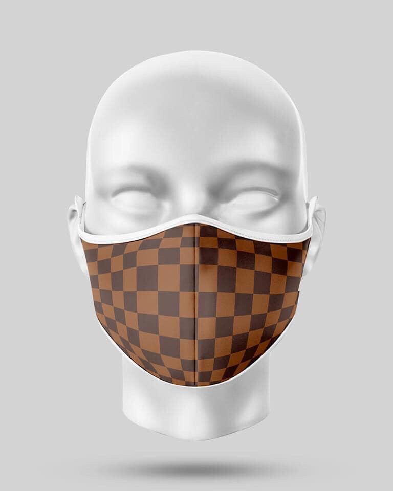 Brown Chequered Mask