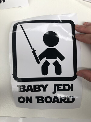 Baby Jedi on Board Car Decal