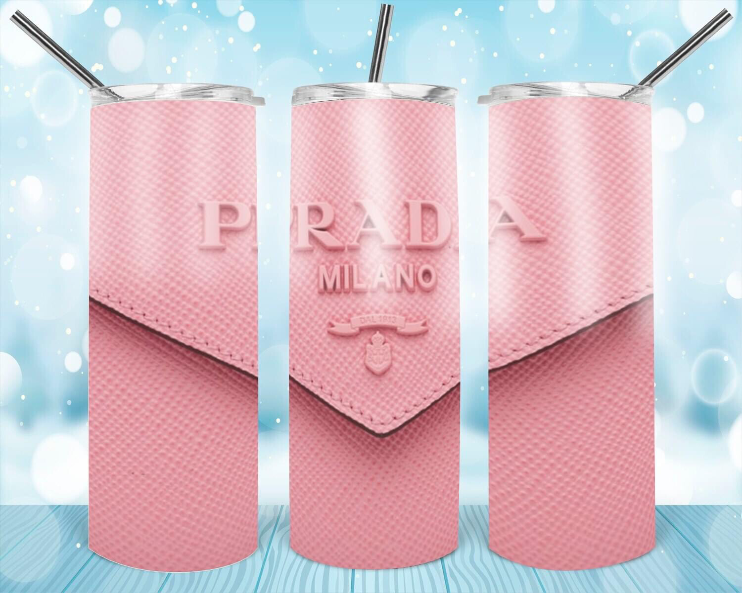 Pink Prada Leather Look Tumbler
