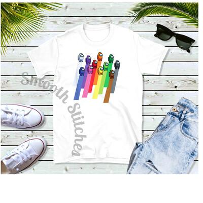 Among Us Rainbow Crewmate shirts