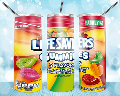 Lifesavers Gummy Label Tumbler