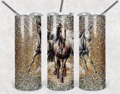 Horse Glitter Look Tumbler