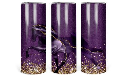Purple Geode Horse Glitter Look Tumbler