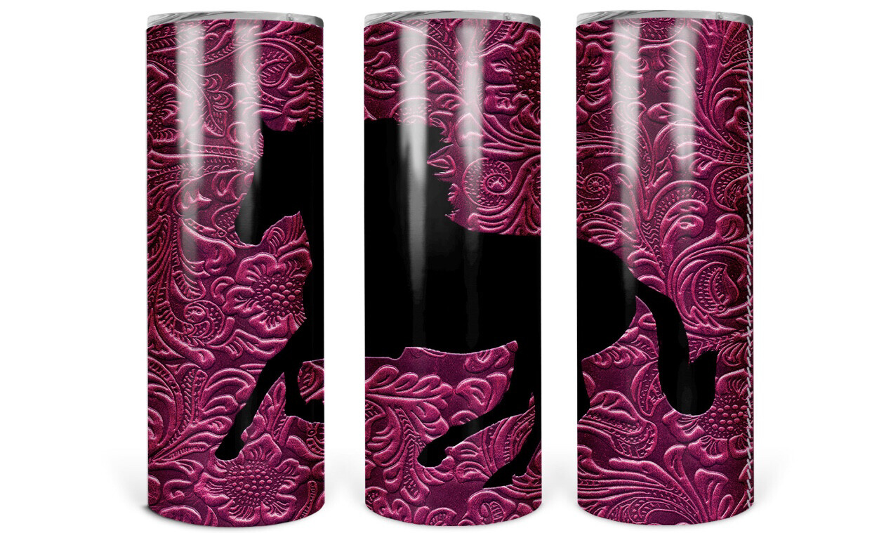 Pink Horse Tooled Leather Look Tumbler