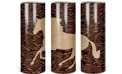 Horse Tooled Leather Look Tumbler
