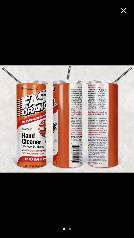 Orange Hand Cleaner Label Tumbler