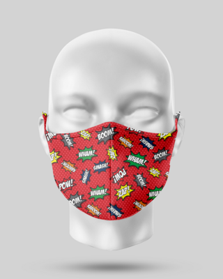 Red Comic Pop Face Mask