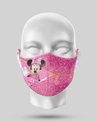 Zipper Pink Glitter Minnie Face Mask
