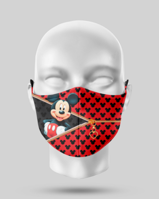 Zipper Red Mickey Face Mask