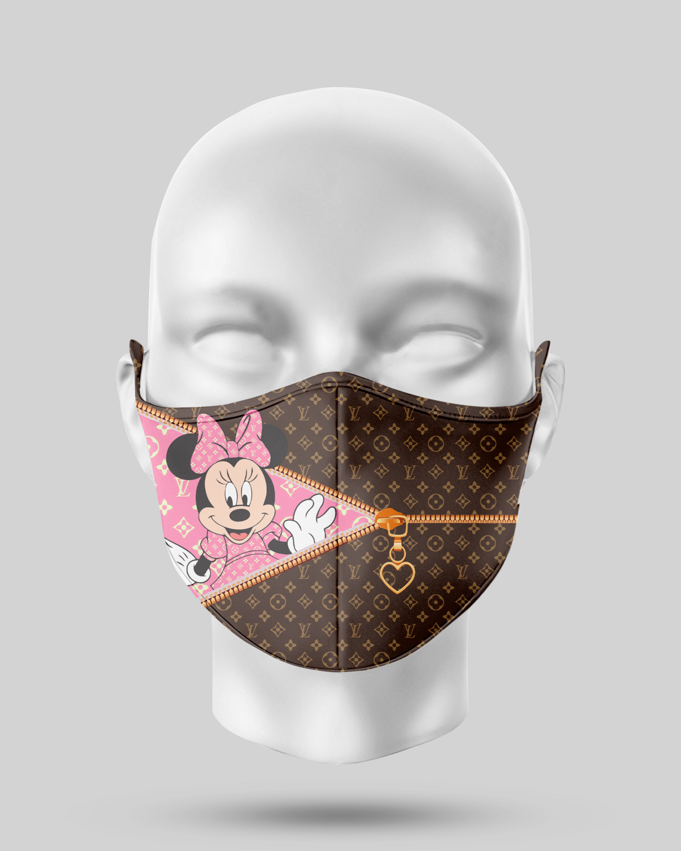 Zipper Black LV Minnie Mouse Face Mask
