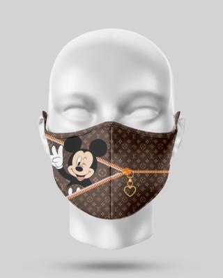 Zipper Brown LV Mickey Face Mask