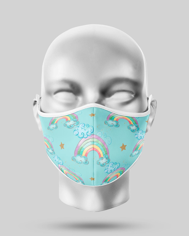 Blue Rainbow Face Mask