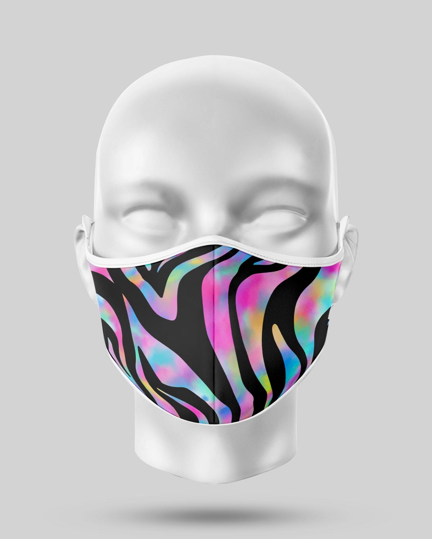 Pink Neon Zebra Face Mask