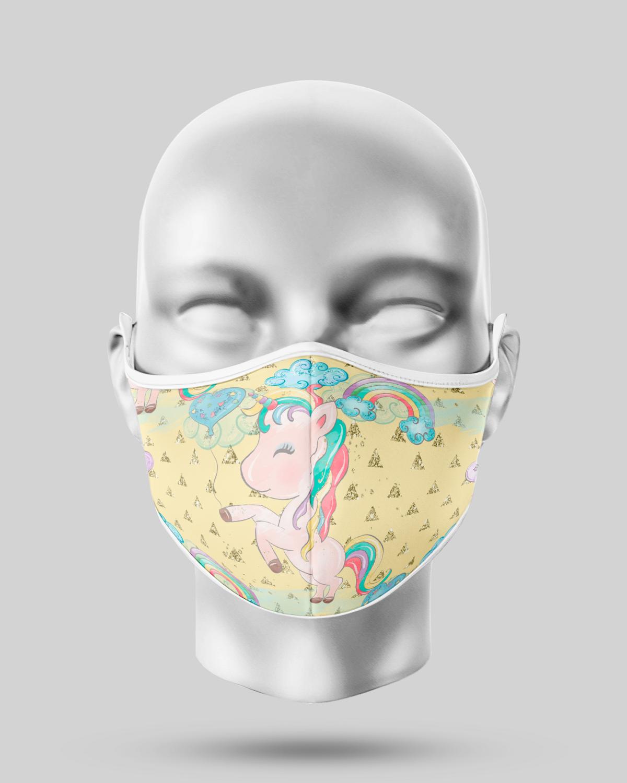 Yellow Rainbow Unicorn Face Mask
