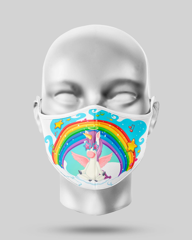 Blue Rainbow Unicorn Face Mask