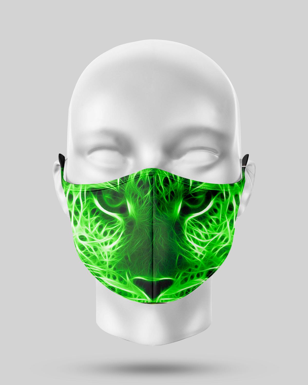 Neon Green Leopard Face Mask