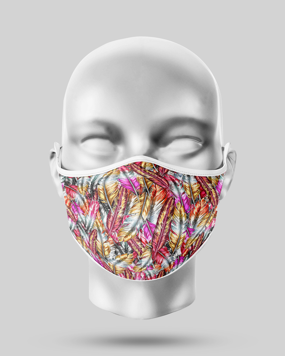 Pink Feathers Face Mask