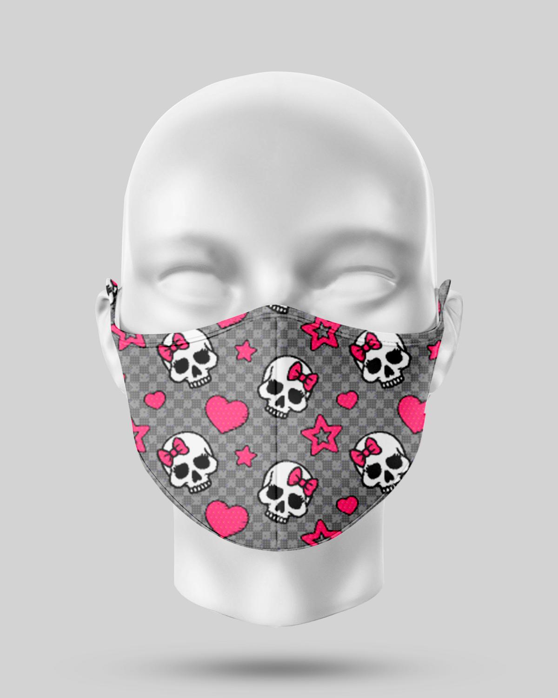 Grey Pink Skulls Face Mask