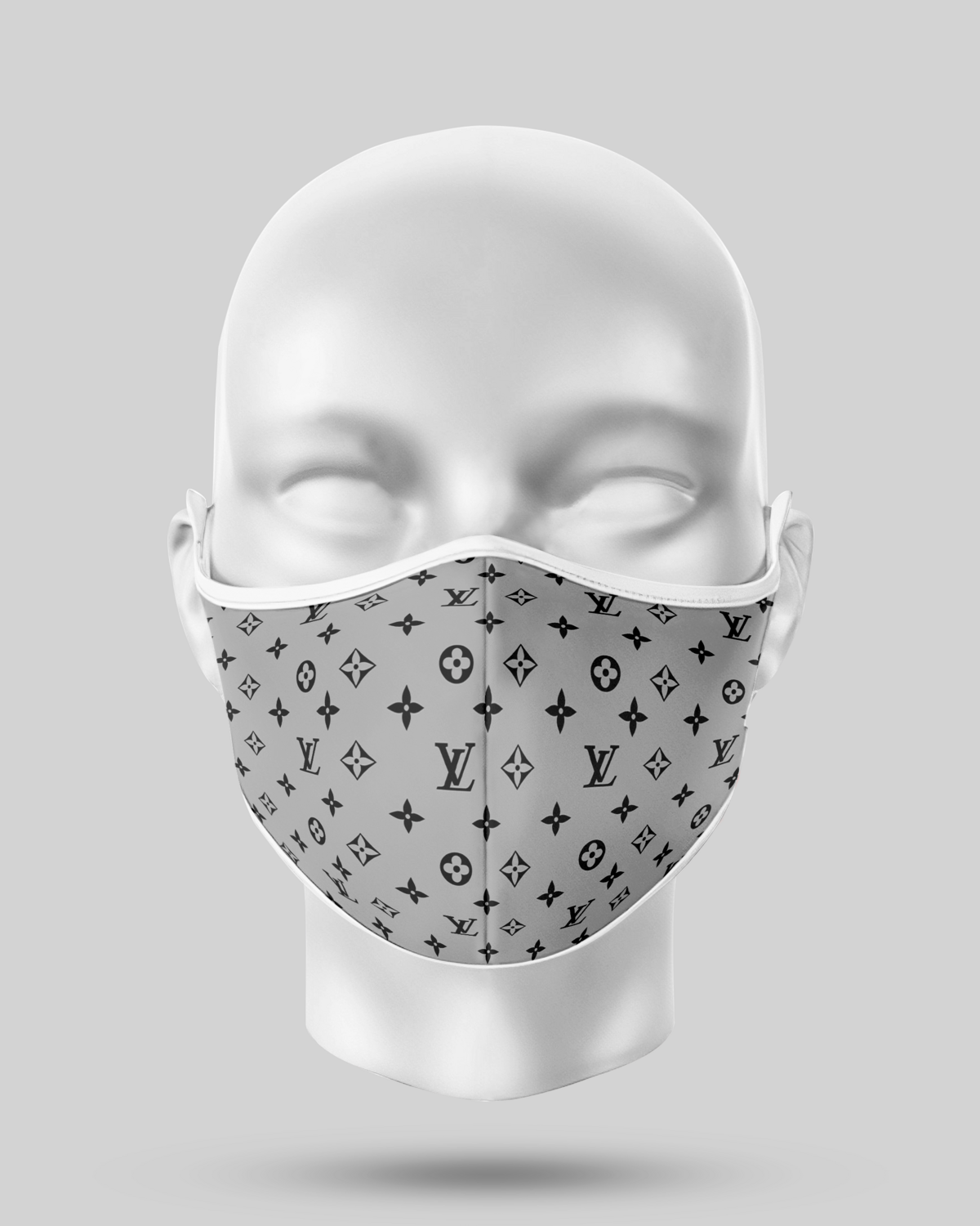 Black and grey LV Face Mask