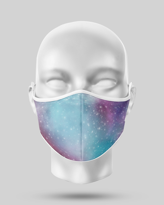 Aqua Purple Galaxy Face Mask