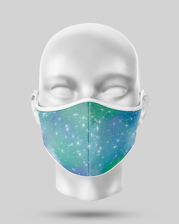 Aqua Green Galaxy Face Mask