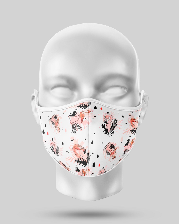White Flamingos Face Mask