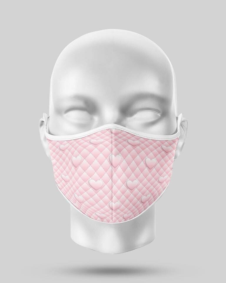 Pink Pearl Hearts Face Mask