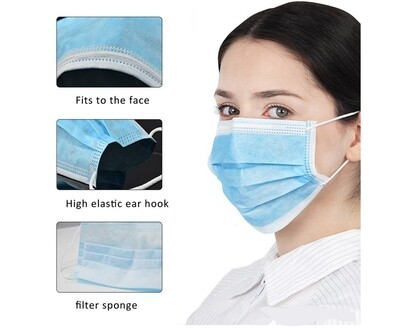 Disposable Face Masks with Three Layer Protection of 10 mask1
