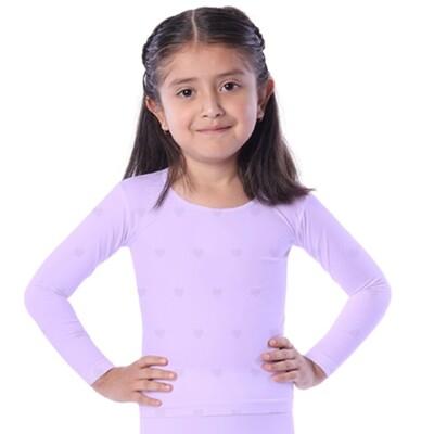 Playera térmica para niña textura corazones, cuello redondo, Calidad PREMIUM - Edades de 4 a 12 años