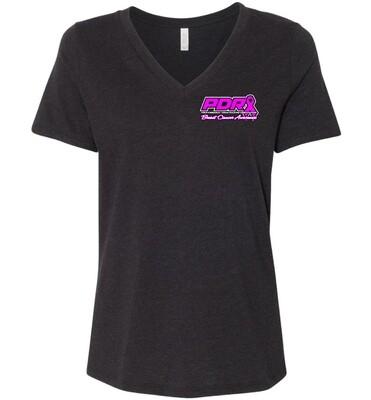 PDRA Breast Cancer Awareness Design Ladies V-neck T-shirt