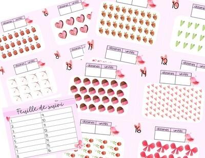Cartes à tâches groupement de 10 - Saint-Valentin