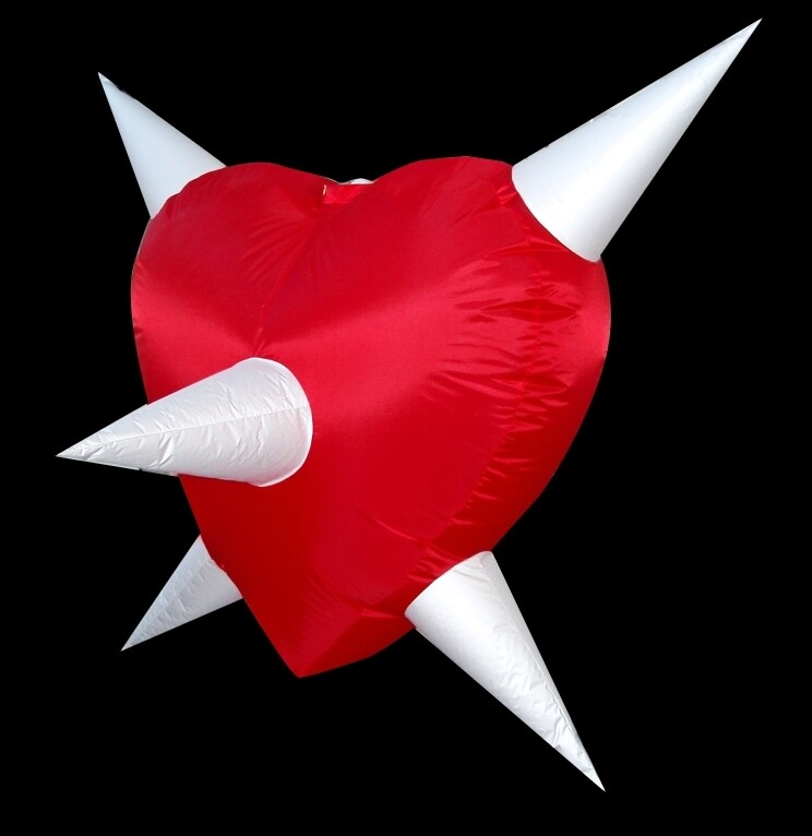 Hanging Inflatable Spiky Heart 7.5ft/230cm x 7ft/214cm