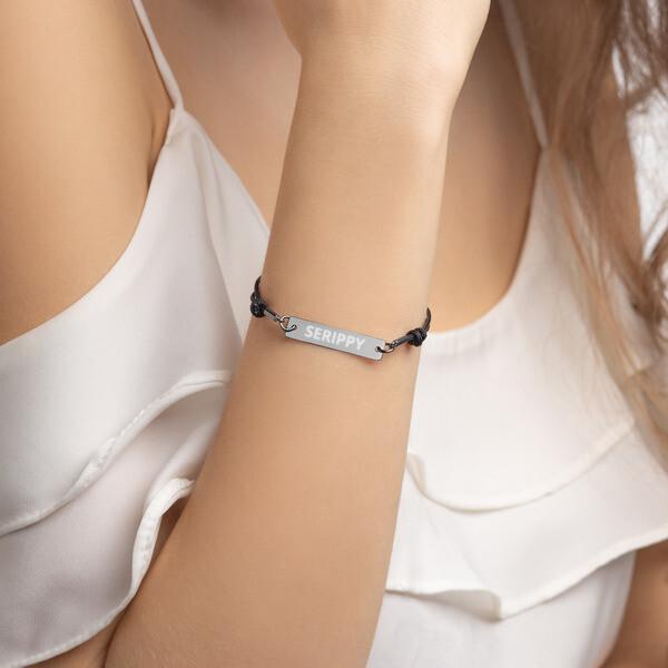 SERIPPY Engraved Silver Bar String Bracelet