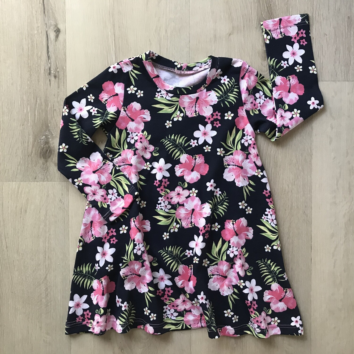 Pink and navy A-line tshirt dress
