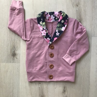 Cardigan - dusty pink and floral